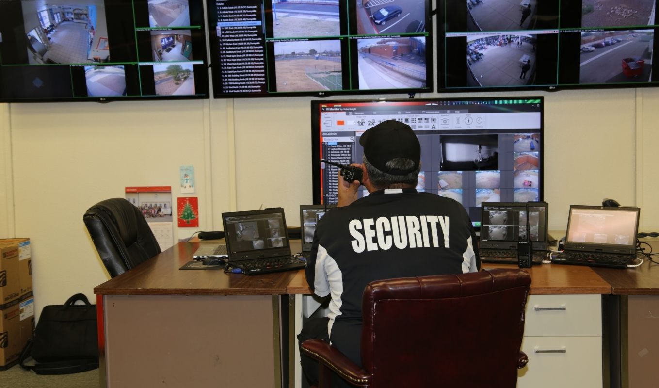 security personnel viewing CCTV systems